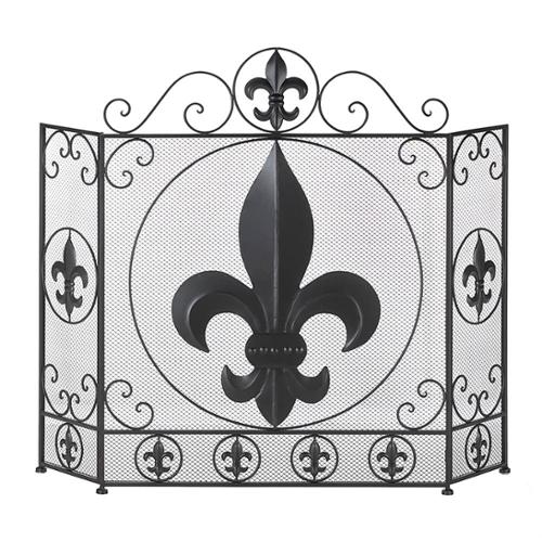 BSD National Supplies Victorian Fleur De Lis Iron Fireplace Screen