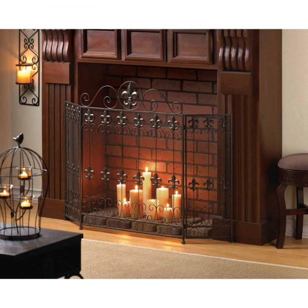 BSD national Supplies Fleur De Lis Fireplace Screen