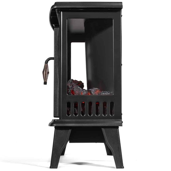 Barton 1500W Electric Stove Heater Infrared Quartz Fireplace 3D Flame Log Stove Firebox, Black 1