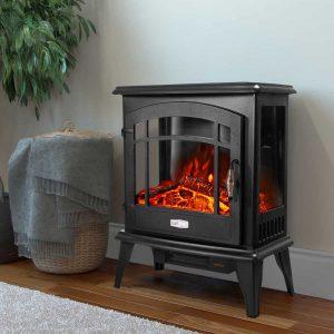 Barton 1500W Electric Stove Heater Infrared Quartz Fireplace 3D Flame Log Stove Firebox