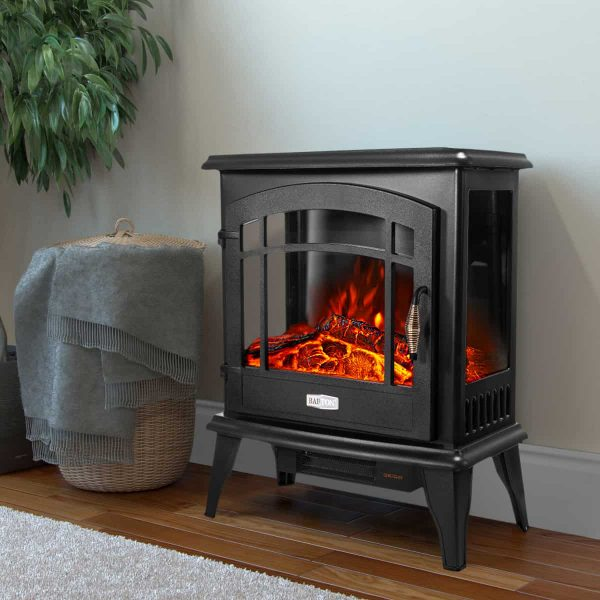 Barton 1500W Electric Stove Heater Infrared Quartz Fireplace 3D Flame Log Stove Firebox