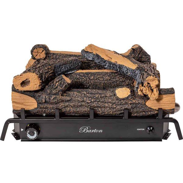 Barton 18-inch Fireplace Log Grate Split Oak Vent Free Natural Gas ANSI Certified Burner Adjustable Flame 2