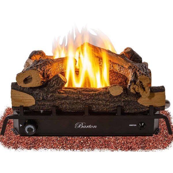 Barton 18-inch Fireplace Log Grate Split Oak Vent Free Natural Gas ANSI Certified Burner Adjustable Flame