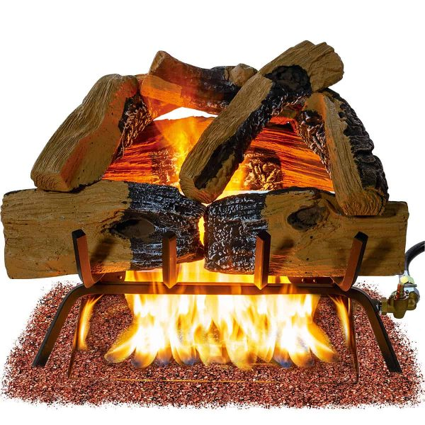 Barton 18-inch Fireplace Log Grate Split Oak Wood Vented Natural Gas Fire Logs ANSI Burner