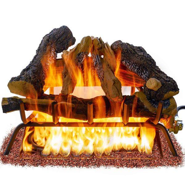 Barton 24inch Fireplace Log Grate Split Oak Wood Vented Natural Gas Fire Logs ANSI Burner