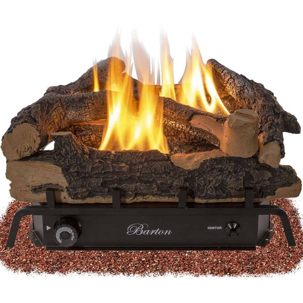 "Barton 24"" Fireplace Log Adjustable Flame Grate Split Oak Vent-Free Natural Gas Fuel ANSI Burner"