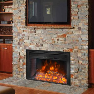 Barton Electric Fireplace Insert Flame Stove Adjustable Flame Timer Firebox Logs with Remote Control
