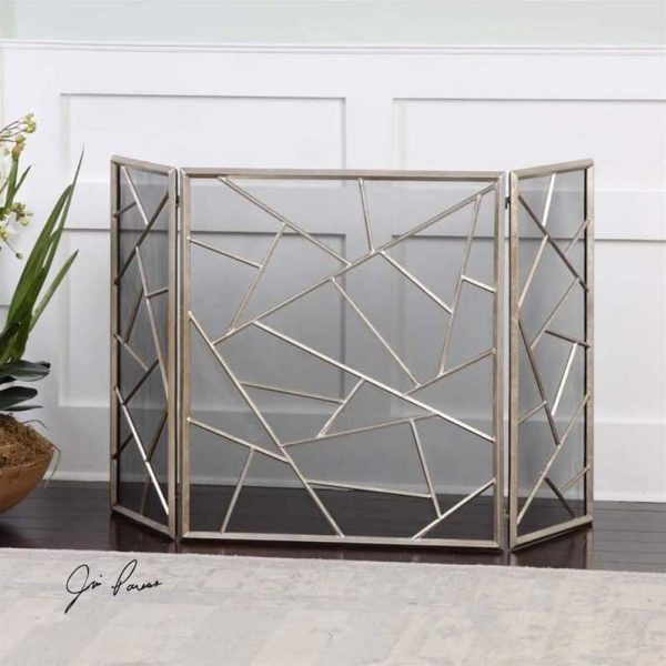 Beaumont Lane Modern Fireplace Screen in Antiqued Silver 1