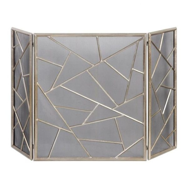 Beaumont Lane Modern Fireplace Screen in Antiqued Silver 2