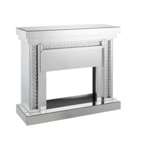 Benzara BM196007 Wood & Mirror Electric Fireplace with Embedded Faux Crystals