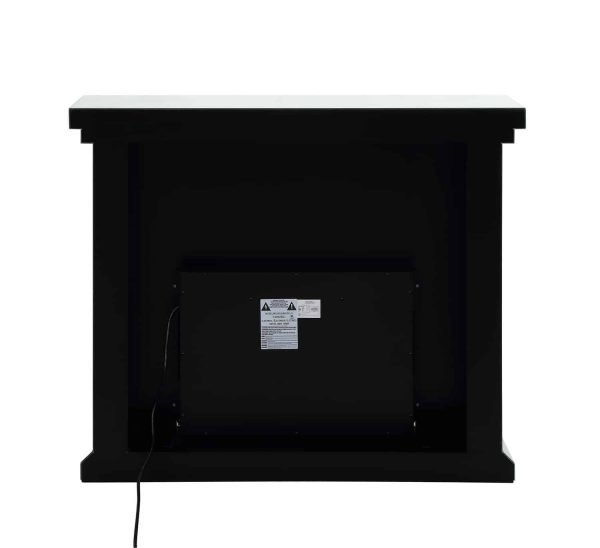 Benzara BM196008 Wood & Mirror Electric Fireplace with Faux Crystals Inlay, Clear & Black 2
