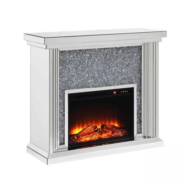 Benzara BM196008 Wood & Mirror Electric Fireplace with Faux Crystals Inlay