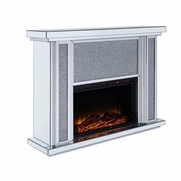Benzara BM196009 Wood & Mirror Electric Fireplace with Faux Crystal Dusted Face