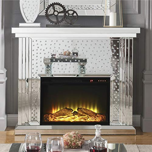 Benzara Faux Crystal Inlaid Wooden Electric Fireplace With Remote Controller