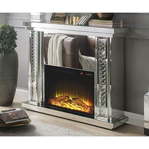 Benzara Mirrored Electric Fireplace with Faux Crystal Inlay & Remote Controller