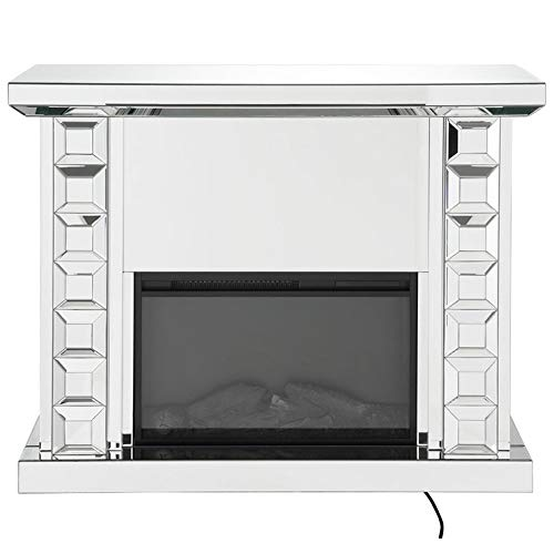 Benzara Wood and Glass Electric Fireplace with Touch Panel or Remote Controller