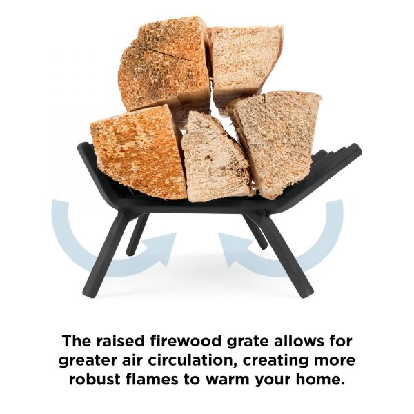 Best Choice Products 21-inch 2-in-1 Solid Steel Heavy Duty Fireplace Grate Log Burning Rack w/ Ash Catcher Tray 4