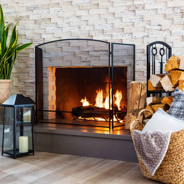 Best Choice Products 3-Panel 47x29in Simple Steel Mesh Fireplace Screen, Spark Guard Gate w/ Rustic Worn Finish 1