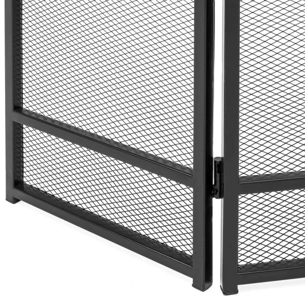 Best Choice Products 3-Panel 47x29in Simple Steel Mesh Fireplace Screen, Spark Guard Gate w/ Rustic Worn Finish 2