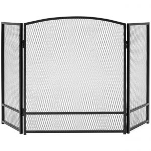 Best Choice Products 3-Panel 47x29in Simple Steel Mesh Fireplace Screen