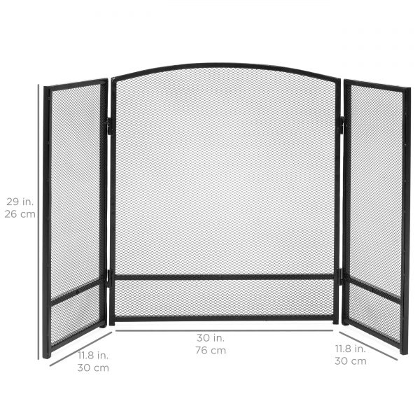 Best Choice Products 3-Panel 47x29in Simple Steel Mesh Fireplace Screen, Spark Guard Gate w/ Rustic Worn Finish 4