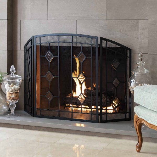 Best Choice Products 3-Panel 48x30in Glass Diamond Accent Handcrafted Iron Mesh Fireplace Screen, Spark Guard Gate 1