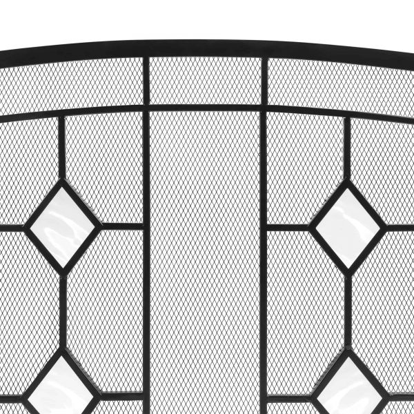 Best Choice Products 3-Panel 48x30in Glass Diamond Accent Handcrafted Iron Mesh Fireplace Screen, Spark Guard Gate 2