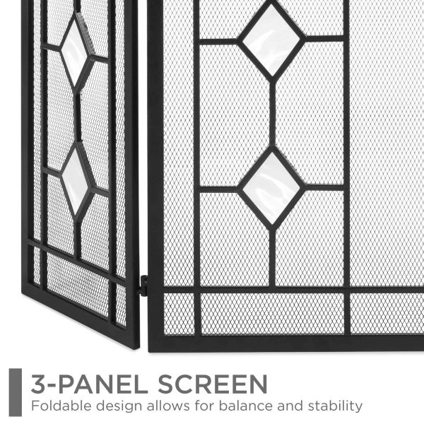 Best Choice Products 3-Panel 48x30in Glass Diamond Accent Handcrafted Iron Mesh Fireplace Screen, Spark Guard Gate 3