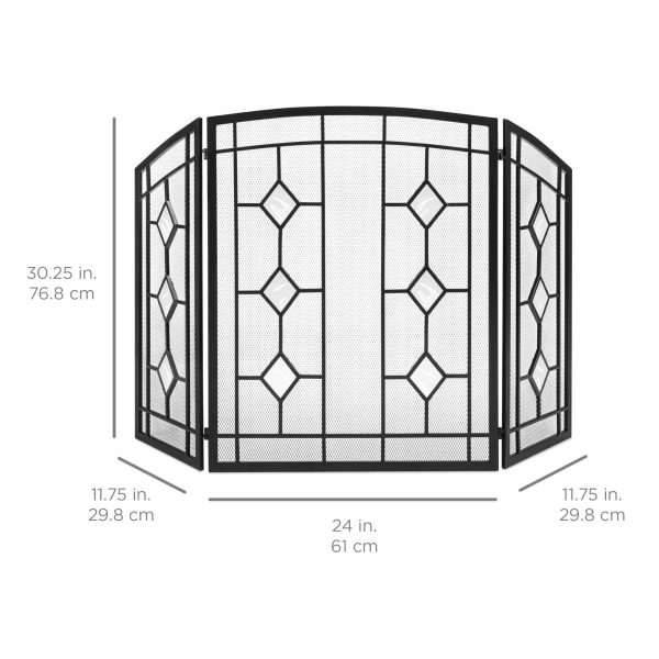 Best Choice Products 3-Panel 48x30in Glass Diamond Accent Handcrafted Iron Mesh Fireplace Screen, Spark Guard Gate 5