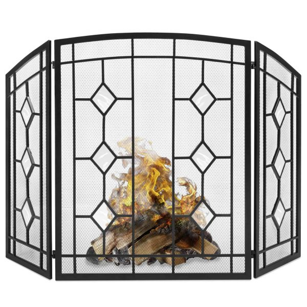 Best Choice Products 3-Panel 48x30in Glass Diamond Accent Handcrafted Iron Mesh Fireplace Screen