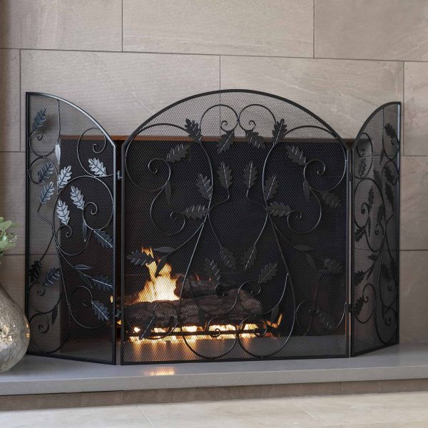 Best Choice Products 3-Panel 50x30in Steel Metal Mesh Fireplace Screen w/ Rustic Worn Finish, Scroll Leaf Decals 1