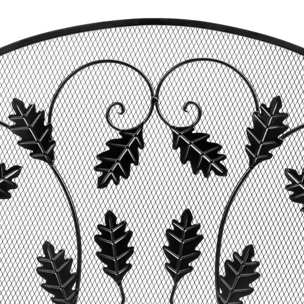 Best Choice Products 3-Panel 50x30in Steel Metal Mesh Fireplace Screen w/ Rustic Worn Finish, Scroll Leaf Decals 3