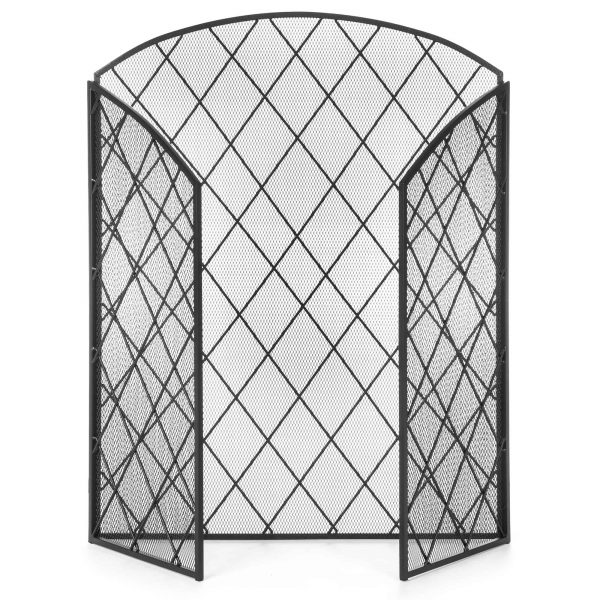Best Choice Products 3-Panel 50x30in Wrought Iron Mesh Fireplace Screen, Spark Guard Protector Gate w/ Folding Panels 2
