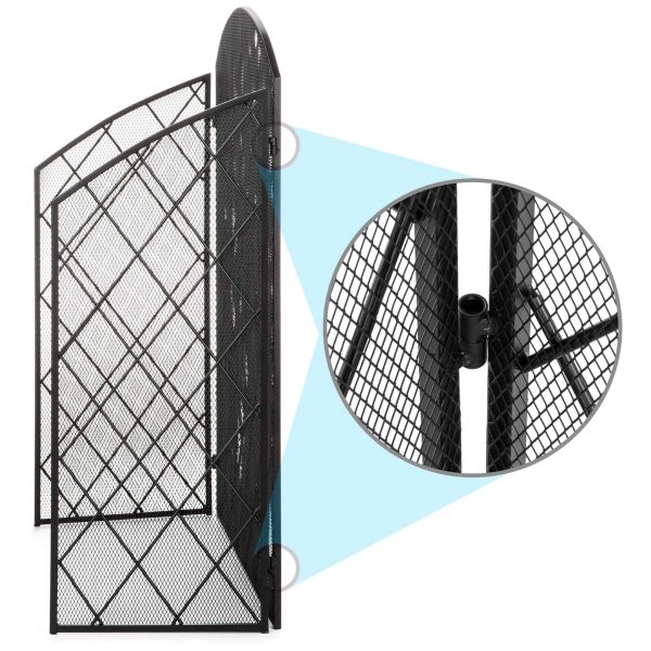 Best Choice Products 3-Panel 50x30in Wrought Iron Mesh Fireplace Screen, Spark Guard Protector Gate w/ Folding Panels 3