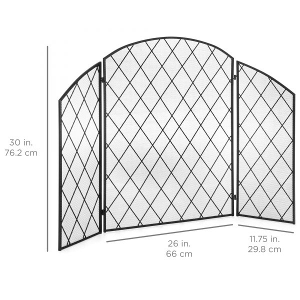 Best Choice Products 3-Panel 50x30in Wrought Iron Mesh Fireplace Screen, Spark Guard Protector Gate w/ Folding Panels 5