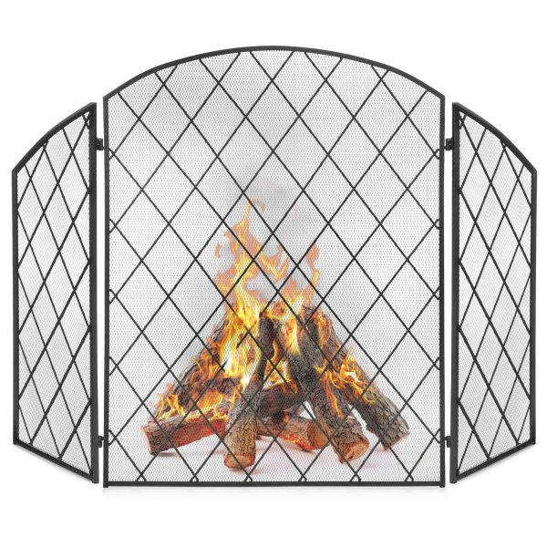 Best Choice Products 3-Panel 50x30in Wrought Iron Mesh Fireplace Screen