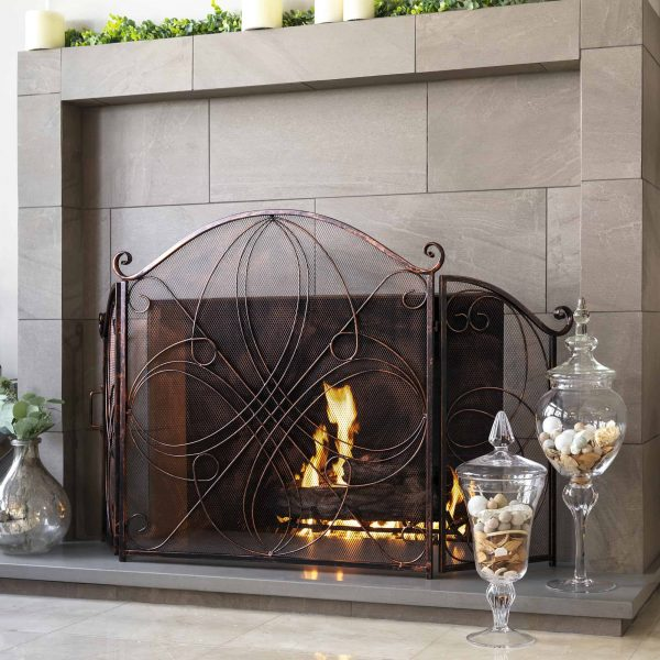 Best Choice Products 3-Panel 55x33in Wrought Iron Fireplace Safety Screen Decorative Scroll Spark Guard Cover 2