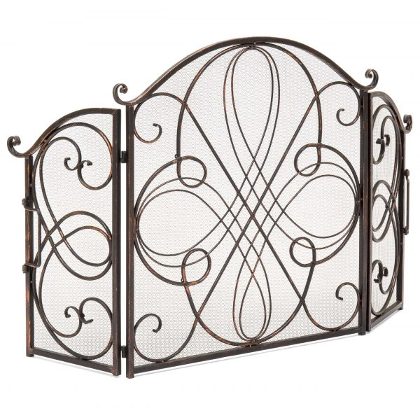 Best Choice Products 3-Panel 55x33in Wrought Iron Fireplace Safety Screen Decorative Scroll Spark Guard Cover 3