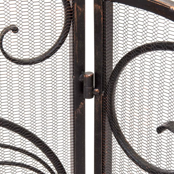 Best Choice Products 3-Panel 55x33in Wrought Iron Fireplace Safety Screen Decorative Scroll Spark Guard Cover 4