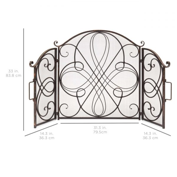Best Choice Products 3-Panel 55x33in Wrought Iron Fireplace Safety Screen Decorative Scroll Spark Guard Cover 6