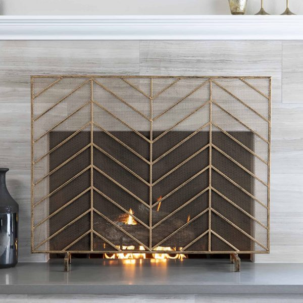 Best Choice Products 38x31in Single Panel Handcrafted Iron Chevron Fireplace Screen w/ Distressed Antique Copper Finish 1