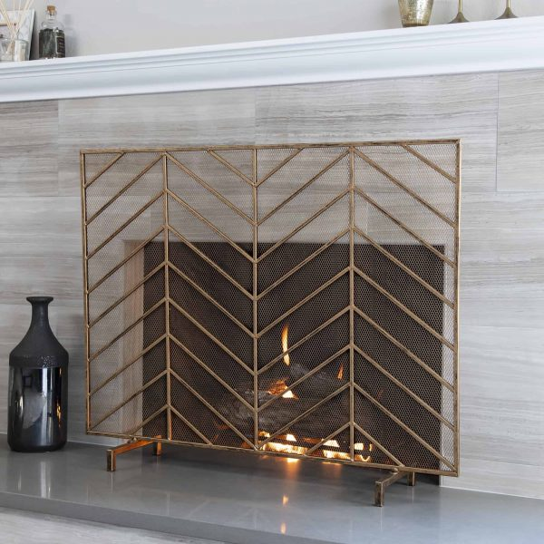 Best Choice Products 38x31in Single Panel Handcrafted Iron Chevron Fireplace Screen w/ Distressed Antique Copper Finish 2