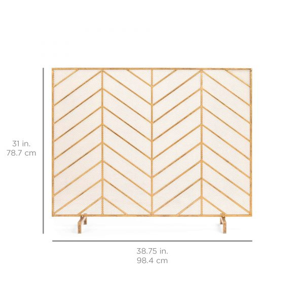 Best Choice Products 38x31in Single Panel Handcrafted Iron Chevron Fireplace Screen w/ Distressed Antique Copper Finish 6