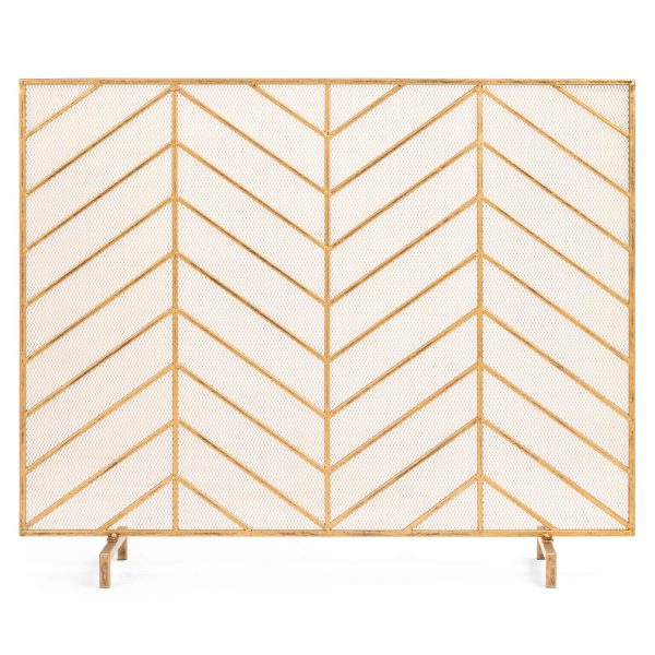 Best Choice Products 38x31in Single Panel Handcrafted Iron Chevron Fireplace Screen w/ Distressed Antique Copper Finish