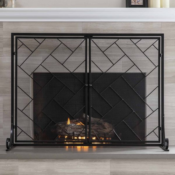 Best Choice Products 44x33in 2-Panel Handcrafted Wrought Iron Decorative Geometric Fireplace Screen w/ Magnetic Doors 1