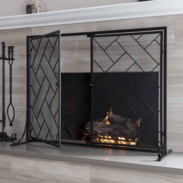 Best Choice Products 44x33in 2-Panel Handcrafted Wrought Iron Decorative Geometric Fireplace Screen w/ Magnetic Doors 2