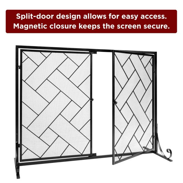 Best Choice Products 44x33in 2-Panel Handcrafted Wrought Iron Decorative Geometric Fireplace Screen w/ Magnetic Doors 3