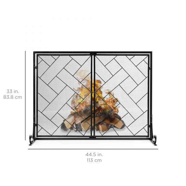 Best Choice Products 44x33in 2-Panel Handcrafted Wrought Iron Decorative Geometric Fireplace Screen w/ Magnetic Doors 6