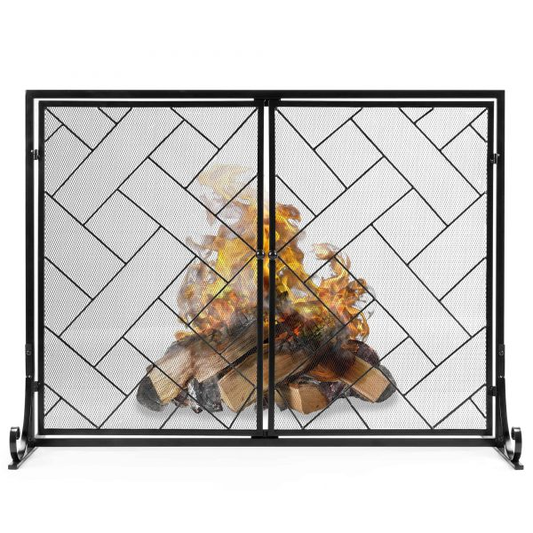 Best Choice Products 44x33in 2-Panel Handcrafted Wrought Iron Decorative Geometric Fireplace Screen w/ Magnetic Doors