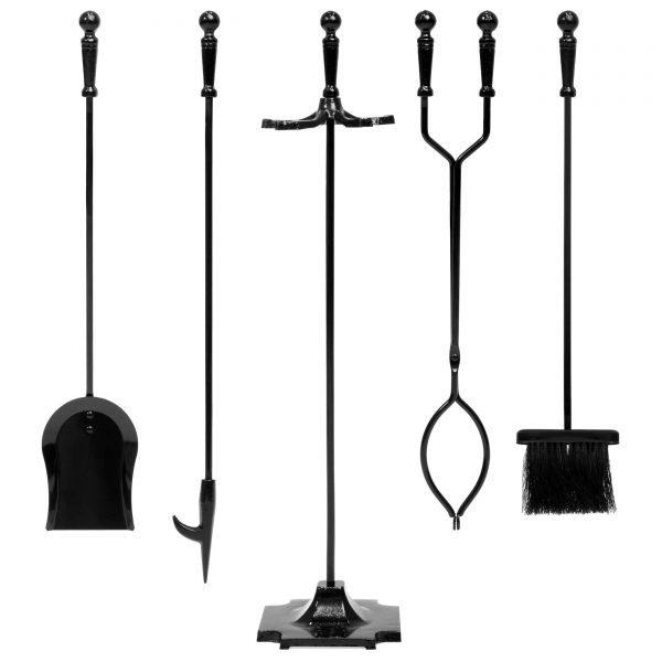 Best Choice Products 5-Piece Indoor Outdoor Fireplace Iron Tool Set w/ Tongs